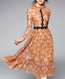 Khaki knee-length dress