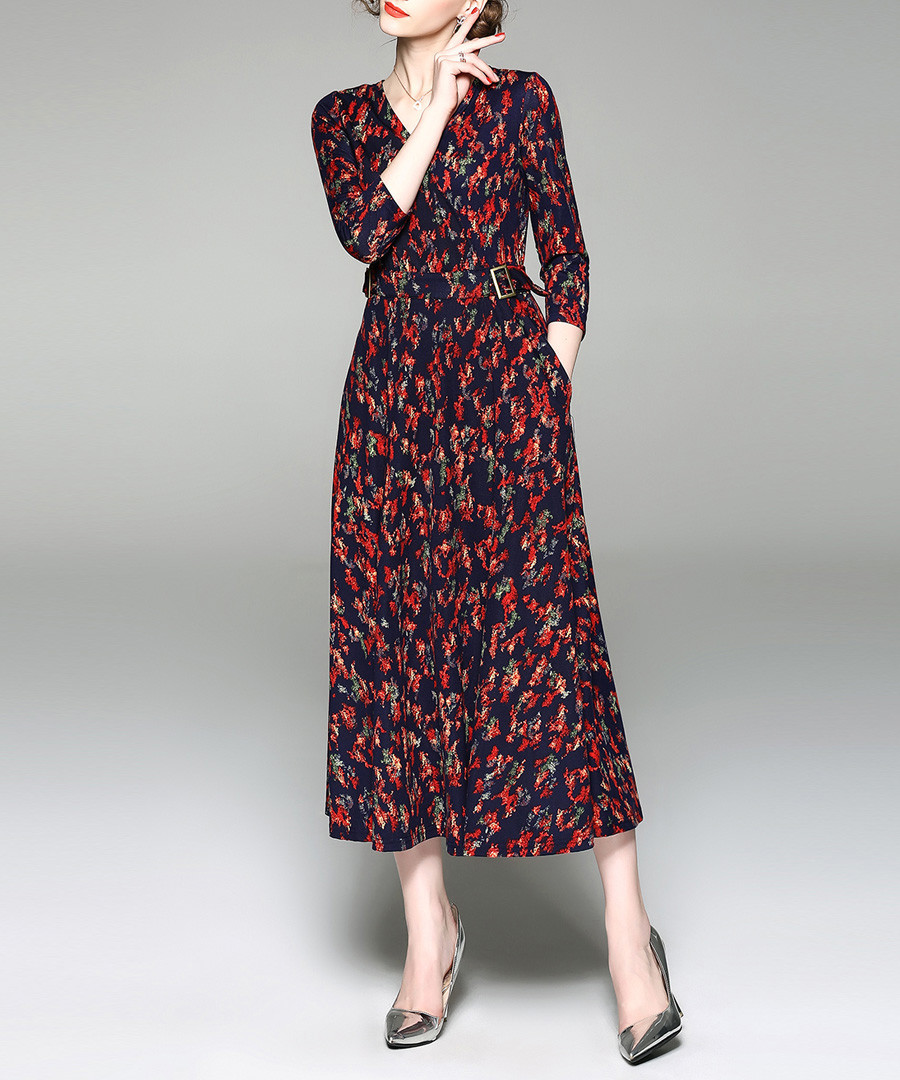 Red long sleeve floral maxi dress Sale - yyfs