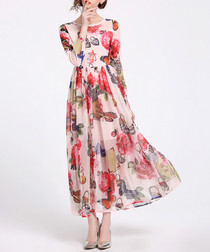 Pink long sleeve sheer maxi dress