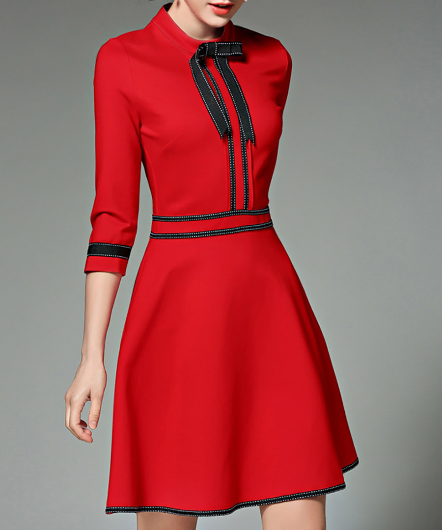 Red 3/4 sleeve bow knee length dress Sale - yyfs