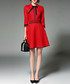 Red 3/4 sleeve bow knee length dress Sale - yyfs Sale
