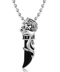 Black & silver-tone steel onyx necklace