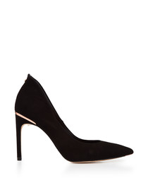Black suede metallic detail heels