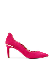 Pink suede metallic detail heels