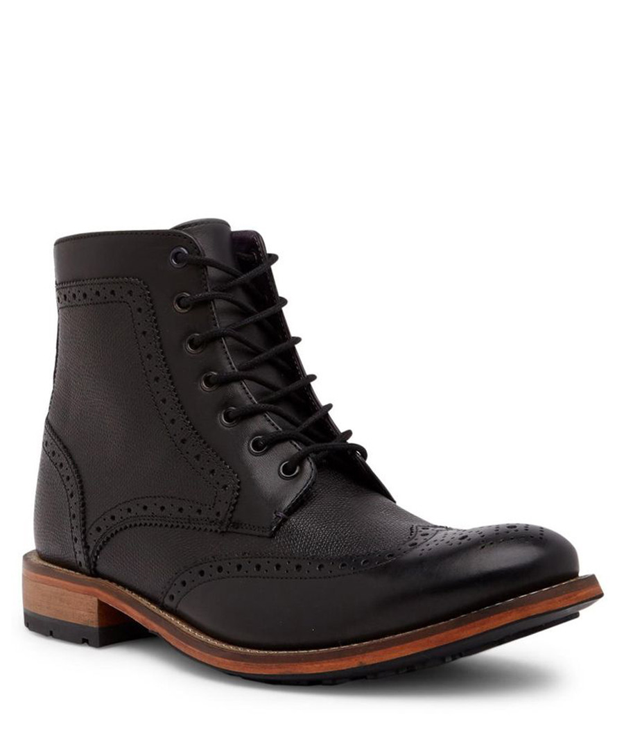 Black leather detailed lace-up boots Sale - ted baker
