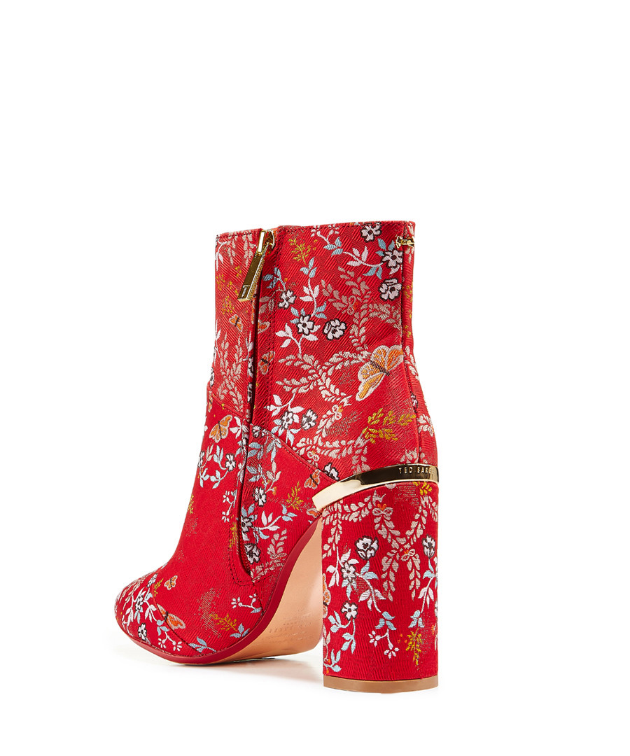 various styles classic fit latest style Discount Red & gold-tone print heeled ankle boot | SECRETSALES