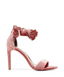 Pink velvet-look bow peep-toe heels
