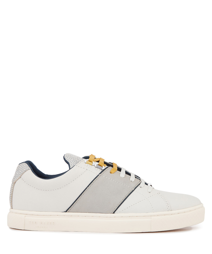 White & grey lace-up leather sneakers Sale - ted baker