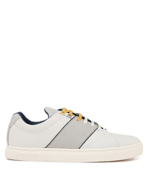 White & grey lace-up leather sneakers