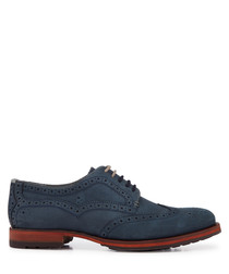 Dark blue detailed leather brogues