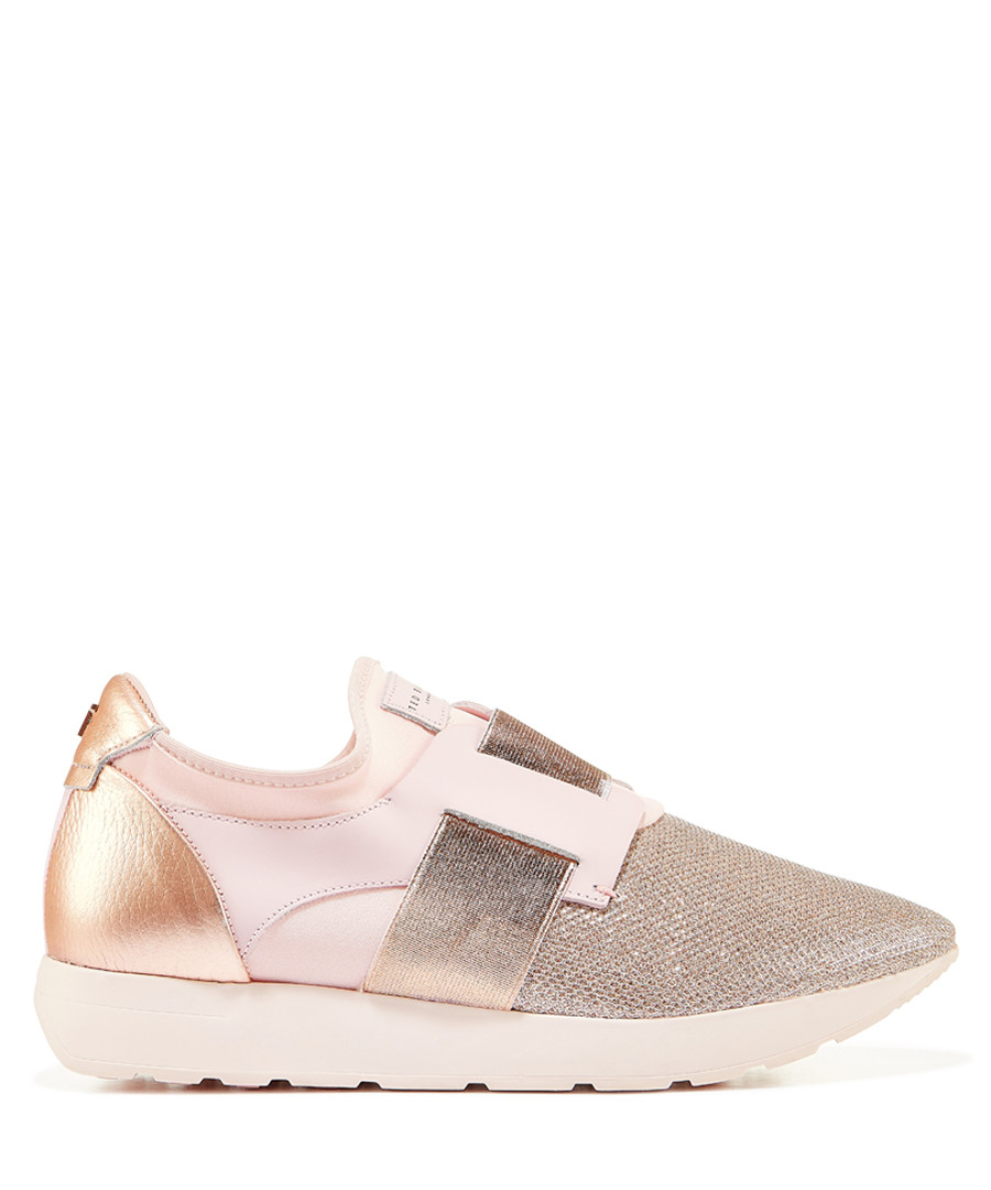 Rose gold-tone metallic stripe sneakers Sale - ted baker