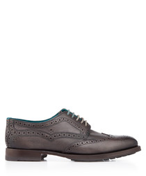 Grey leather perforated brogues