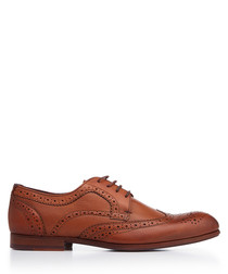 Tan leather perforated brogues