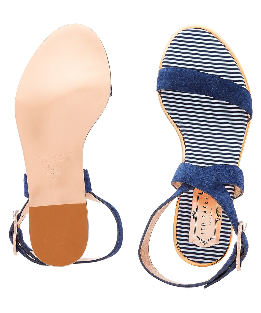 59a59805bc9ef3 ... Navy suede buckle sandals Sale - Ted Baker