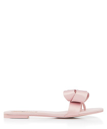 Pink satin & leather sandals