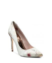 Grey satin floral print high heels