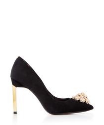 Black velvet & leather high heels