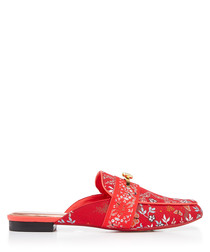Red floral embroidered mules