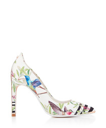 White satin floral print high heels