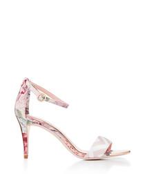 Pink floral print high heels