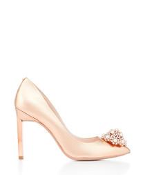 Rose gold leather embellished high heels