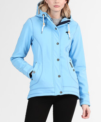 Light blue button-up hooded coat