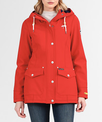 Red button-up hooded coat