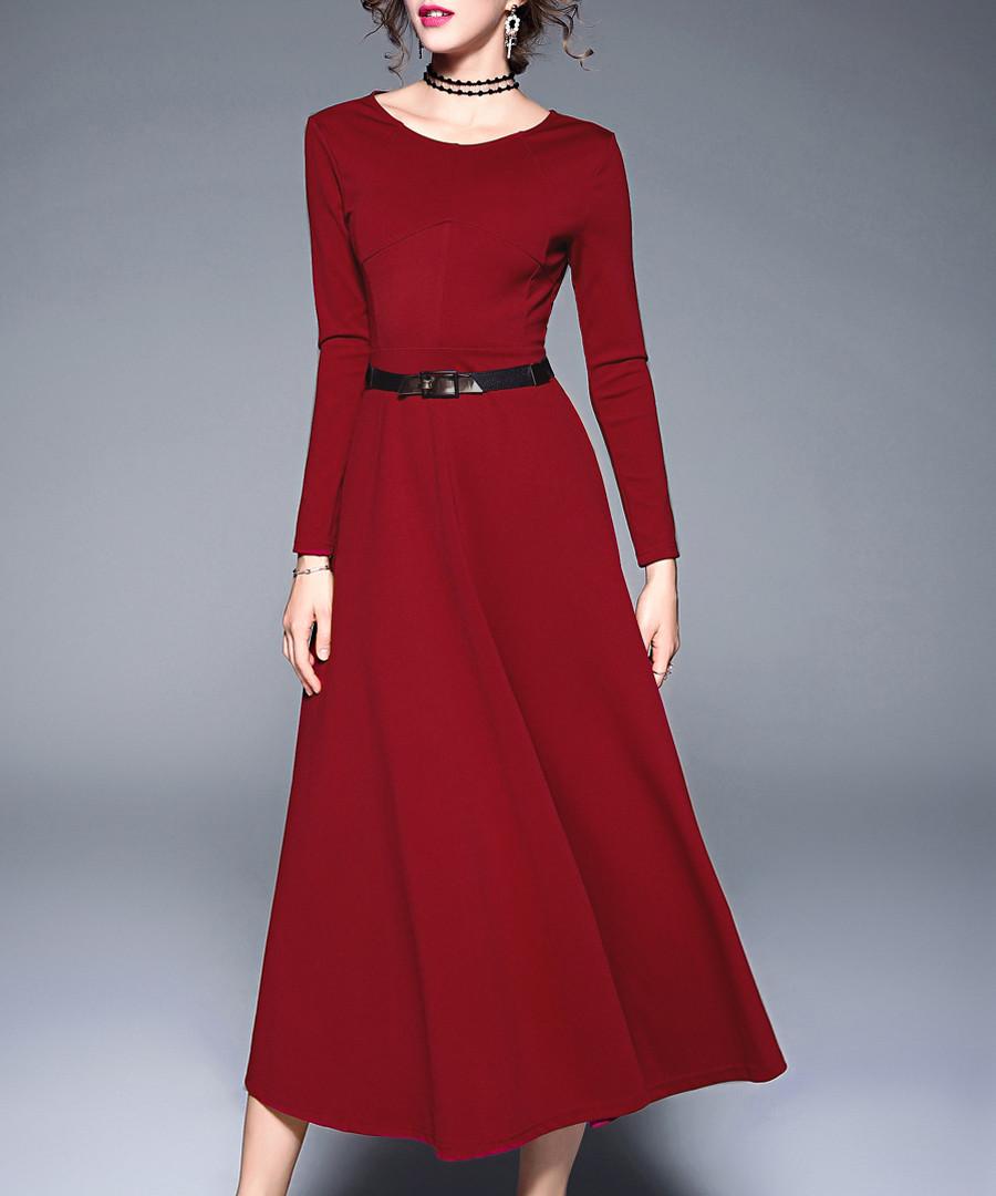 Red wine long sleeve belt midi dress Sale - Kaimilan