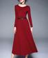 Red wine long sleeve belt midi dress Sale - Kaimilan Sale