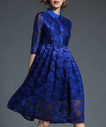 Bright blue 3/4 sleeve knee length dress