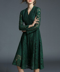 Green long sleeve lace knee length dress