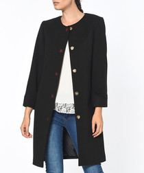 Black long sleeve button up coat