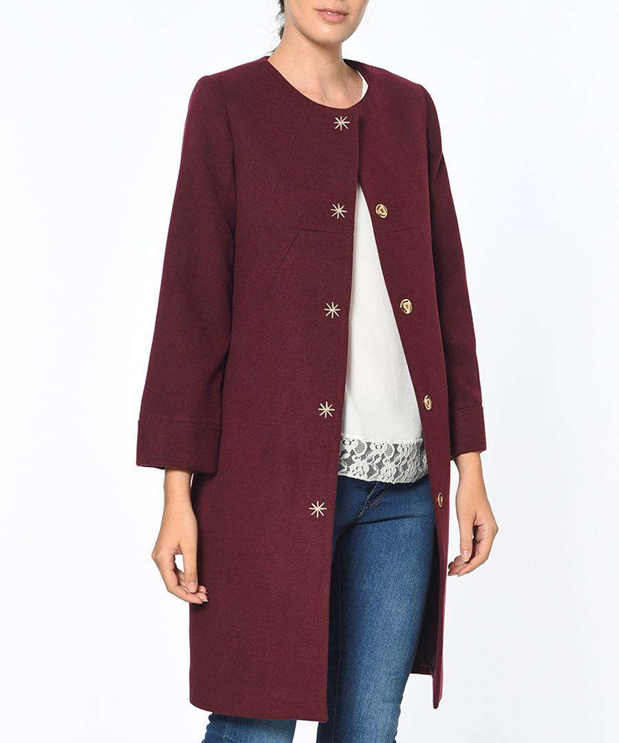 Red knee length button up coat Sale - Dewberry