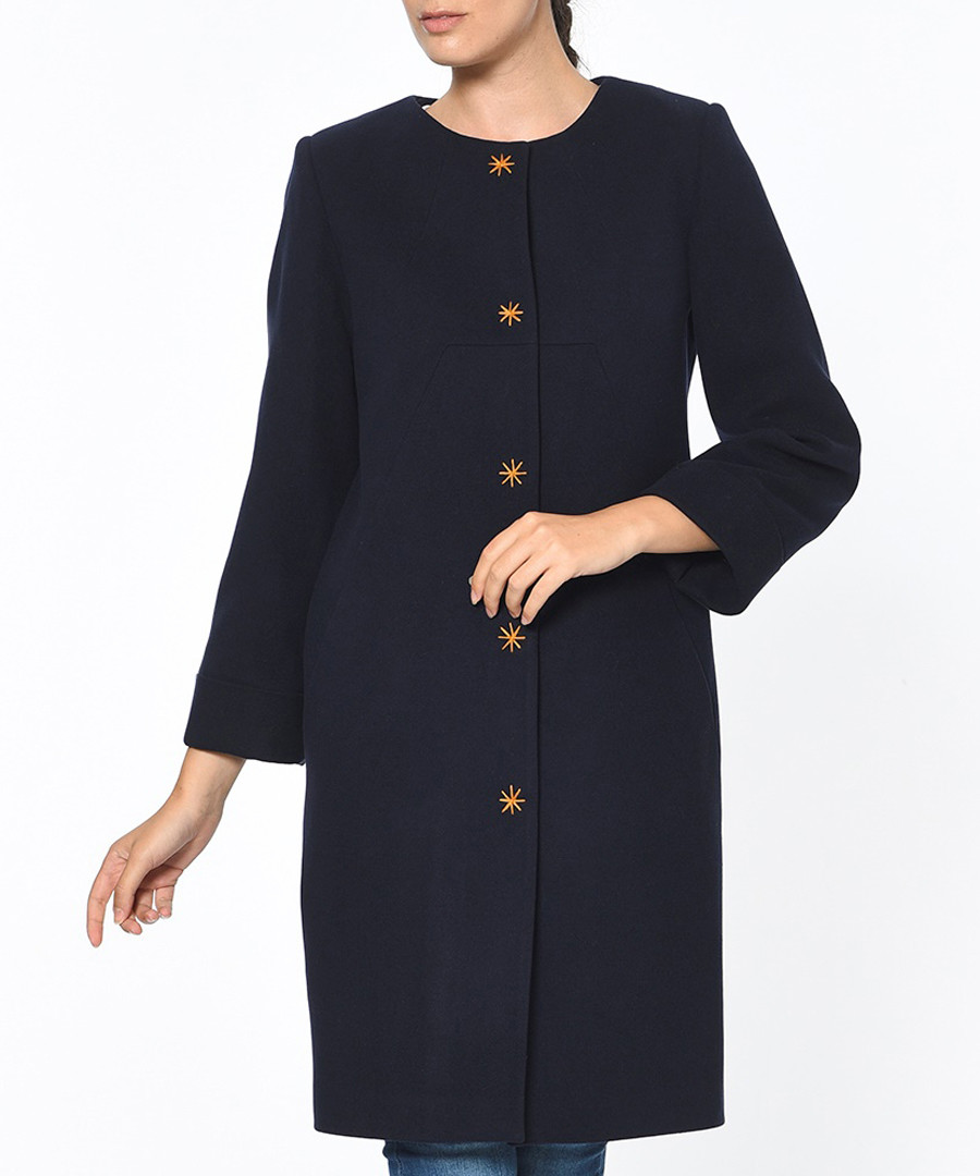 Dark blue knee length button up coat Sale - Dewberry