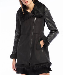 Black velvet trim zip up coat