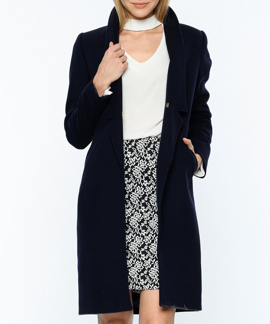 Dark blue wool blend knee length coat Sale - Dewberry