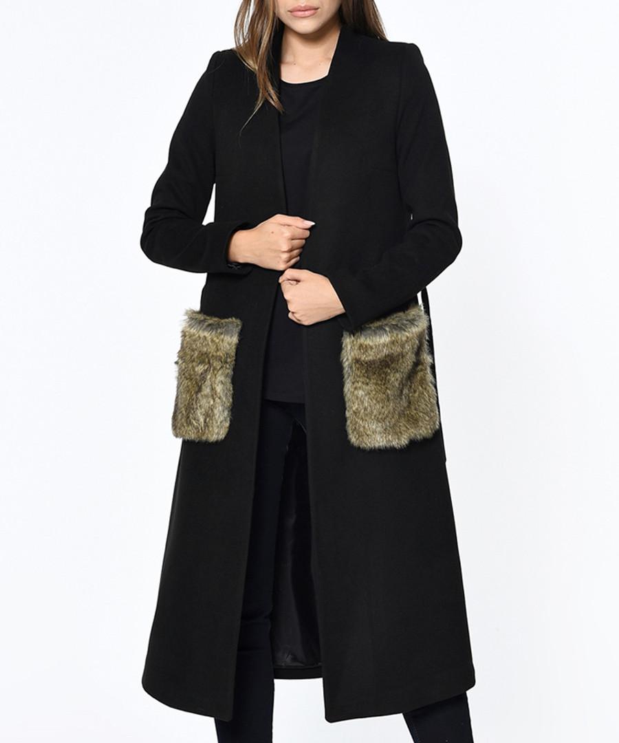 Black knee length trim pocket coat Sale - Dewberry
