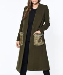 Khaki knee length trim pocket coat