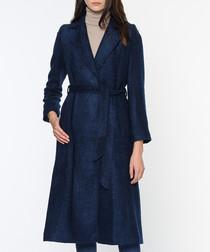 Dark blue wool blend trench coat