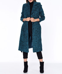Blue wool blend knee length coat