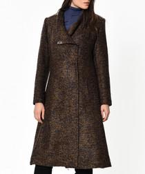 Blue & brown wool blend knee length coat