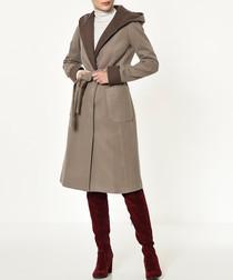 Beige two tone wrap coat