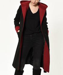 Black & red knee length wrap coat