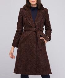 Blue & brown wool knee length wrap coat