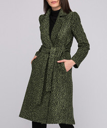 Green wool blend knee length wrap coat