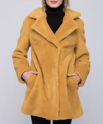 Yellow collar zip up coat