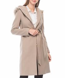 Beige button knee length coat