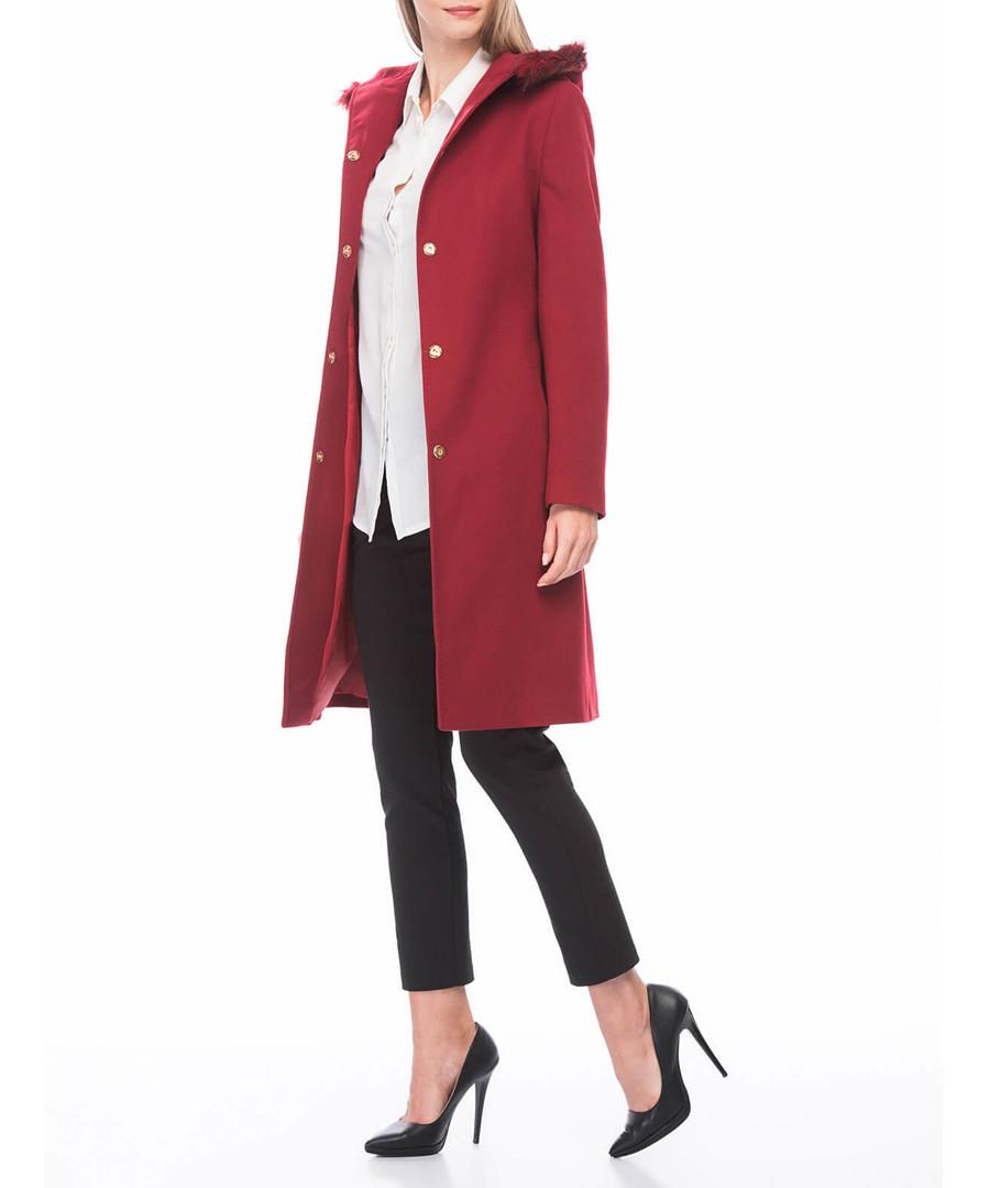 Red hood knee length coat Sale - dewberry
