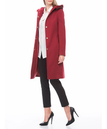 Red hood knee length coat