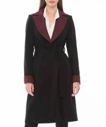 Black & red two tone cuff coat